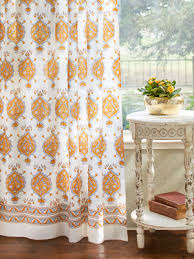 versailles french yellow grey medallion shower curtain