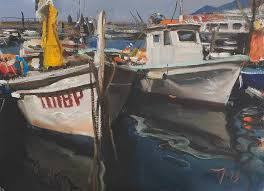 daily painting titled fishing boats camogli harbour