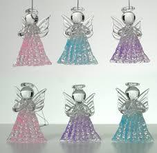 glass angel decorations set of 6 spun glass praying angel decorations pink purple and blue angels glass angel decor angel ornaments for