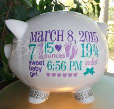 personalized piggy bank baby birth stats gift baby piggy bank baby gift piggy bank new baby gift baby bank by bubbiered on etsy
