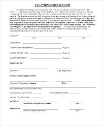 Vacation Request Forms For Employees 10 Sample Vacation Request Form Free Sample Example Format Download