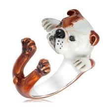 dog fever english bulldog enamel hug ring