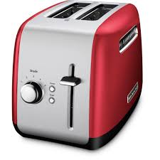 kitchenaid 2 slice red and silver toaster