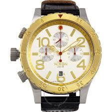 nixon men s a3631884 48 20 chrono leather watch