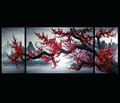 chinese wall art modern living room decor flower painting large