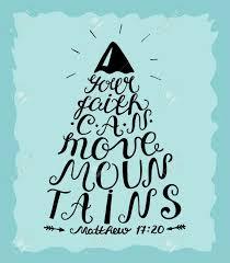 Lettres à La Main Votre Foi Peut Déplacer Les Montagnes Verset De La Bible Affiche Chrétienne Calligraphie Moderne Nouveau Testament