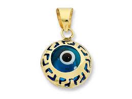 9ct yellow gold evil eye pendant
