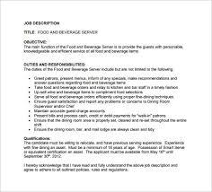 food and beverage server job description sample pdf free download food server job description