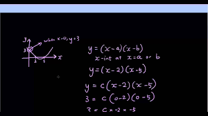quadratic equation finding the equation of a parabola using x intercepts and 1 other point
