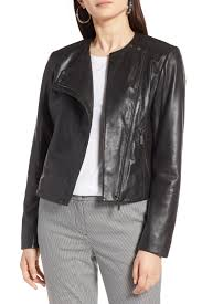 image of halogen collarless leather jacket