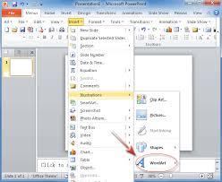 where is wordart wordart in powerpoint 2010 s insert