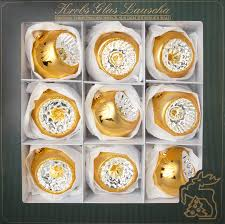 Glasreflexsortiment Gold Satin Gold Mundgeblasen Und Handdekoriert 3 Versch Reflexstile 8cm