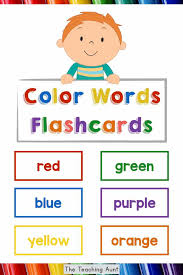 Place a pocket chart in your writing center, and place the cards in the pocket chart. Color Words Flashcards Free Printable The Teaching Aunt