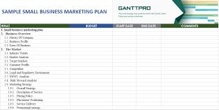 Gantt Chart Example For Business Sample Small Business Marketing Plan Free Download Excel