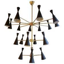 large italian mid century style brass chandelier for