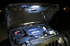 jeep jk electronic accessory setup part 2 wiring fuses relays under hood light this takes power from one of the constant on fused outputs of the bussmann fuse relay box more details coming soon