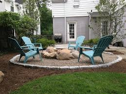 pea gravel fire pit patio craftsman with grass top