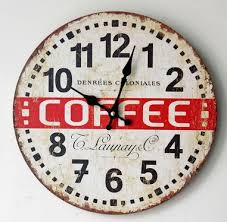 vintage style clock. Exellent Style Vintage Style Coffee Time Wooeden Wall Clock Decor Quartz For Bar Inside M