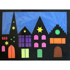 Bastelset Fensterbild Häuserreihe 4teilig Fensterbilder