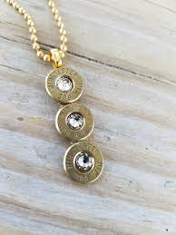 handmade personalized triple drop 308 caliber bullet necklace