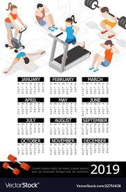 Isometric Fitness 2019 Year Calendar Template