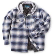 Men's Snap-Front Quilted Hooded Flannel Shirt - 639200, Insulated ... & Men's Snap-Front Quilted Hooded Flannel Shirt, Blue / Tan Adamdwight.com
