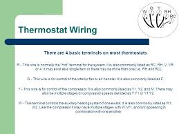 hunter thermostat training ppt there are 4 basic terminals on most thermostats