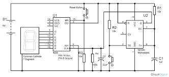 segment display counter circuit using ic timer ic 555 timer 7 segment display counter circuit diagram