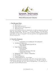 pitch document template pitch document criteria