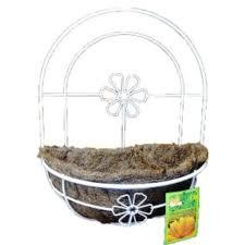 white metal wall planter basket