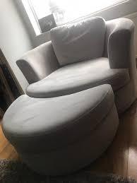 DFS Silver Grey Freya Large Swivel Cuddle Chair With Half Moon ...