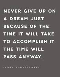 Quotes About Not Giving Up On Dreams Best of Dont Be Scared Of A Goal Because Of The Time It Will Take The Time