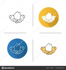 Linear Home Loans House In Hands Icons Stock Vector Bsd 169855922