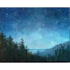 night sky small stars landscape painting 8x10 astronomy starry night 76