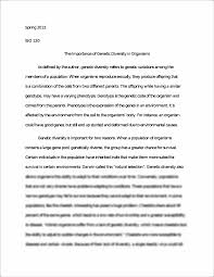 the importance of genetic diversity in organisms essay spring the importance of genetic diversity in organisms essay spring 2013 bio 120