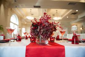 red and white table decorations. Fascinating Centerpieces For Christmas Wedding Party Tables With Red And White Tablecloth Under Flower Plus Berries Table Decorations