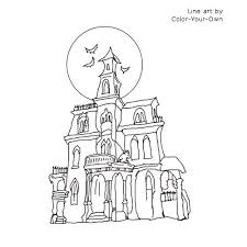 Small Picture Haunted House Coloring Page