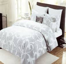 tahari home 3pc luxury cotton full queen duvet cover set gray white grey scroll