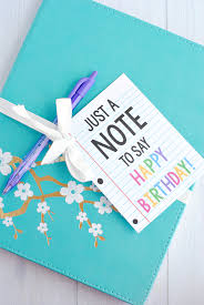 creative birthday gift idea grab a cute notebook and add this cute printable tag and