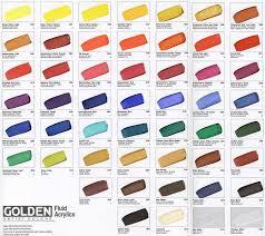 Golden Fluid Acrylic Hand Painted Colour Chart Golden