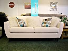 NEW: Charlie Cream Fabric 3 Seater Retro Style Sofa With Contrast Cushions  - FREE UK