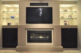 contemporary built in fireplace with glass shelves