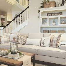 amusing farmhouse style living room lighting ideas interior beige couch black frame wooden rectangle table ottoman