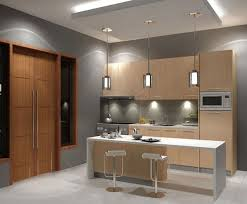 grey paint wall combine with movable kitchen islands and recessed lighting and under lighting cabinet for impressive kitchen design cabinet under lighting