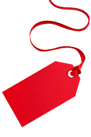 Red gift tag with ribbon isolated on white. Photo   Free Download