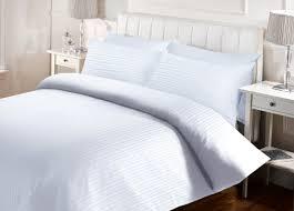 hotel satin stripe duvet set white