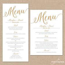 Menu Card Template Gold Wedding Menu Cards Wedding Menu Template Gold