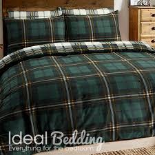 home flannel tartan check green duvet set and pillowcase bedding set previous next