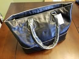 nwt banana republic black leather tote purse handbag