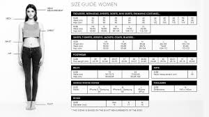 Asos Clothing Size Chart Asos Sizing Guide Vacaville Ice Sports